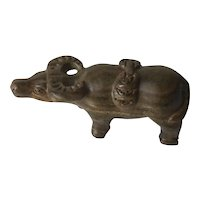 Vintage Chinese Boxwood Carved Cow