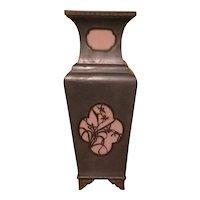 Vintage Hong Kong Pewter-Brass-Stain Glass Vase
