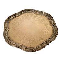 English Victorian Silver-Plated Hexafoil Salver