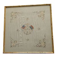 Antique Glass Framed USA-CHINA Flags Silk Embroidery