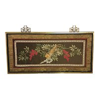 Framed Oriental Silk Embroidery Work Of Art