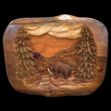 Vintage 3D Wood Carving Of A Bear Catching A Fish