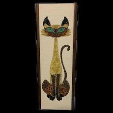Mid-Century Siamese Cat Gravel Art Picture