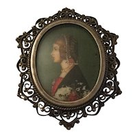 Old Miniature Hand Painted Portrait On 800 Silver Filigree Brooch-Pendant