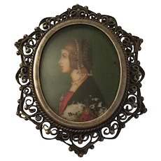 Old Miniature Hand Painted Portrait On 800 Silver Filigree Brooch-Pendant