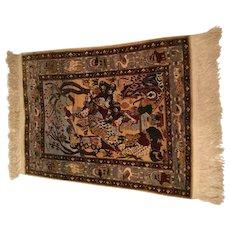 A Tabriz silk pictorial rug, north west Persia, silk on silk foundation.