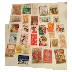 Vintage 55 Greeting Cards With Envelopes In A Metal Box