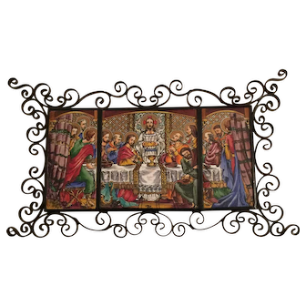 Vintage Last Supper Painting On  A Triple Tile Panel