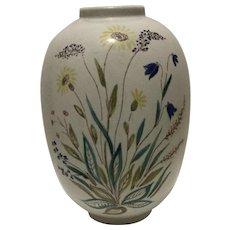 Mid-Century Vintage Rorstrand Lars Thorne Floral Pottery Vase