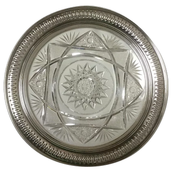 Antique Sterling Cut Crystal Plate By R Wallace & Son