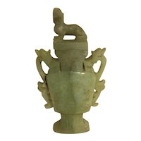 19th Century  Chinese Foo Dog Jade Vase
