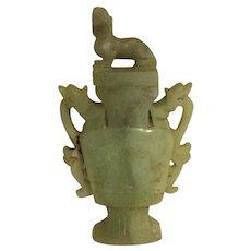19th Century  Chinese Foo Dog Jade Vase