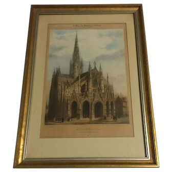 Antique Lithograph Of Church Saint-Maclou In Rouen,France