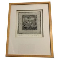 """Marsha McCarthy Framed Signed Numbered Drawing On Clay """"MARRIAGE"""""""