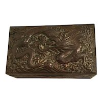 Antique Chinese Copper Dragon Cigar/Cigarette Box