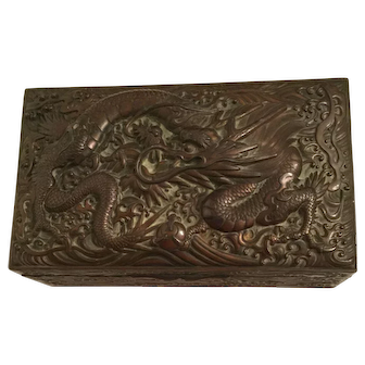 Antique Chinese Copper Dragon Cigar/Cigarette Box