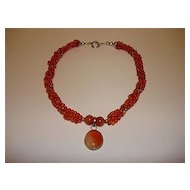 Stunning Carnelian Necklace With Cabochon And Sterling