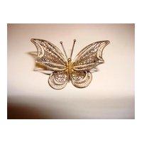 Vintage 800 Filigree Butterfly Brooch