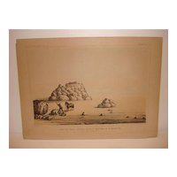19th Century Hand colored Lithograph Of U.S.P.R.R. Exp. & Survey, Cal.