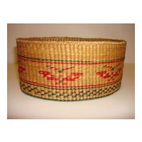 Vintage Pennsylvania Thunderbird Straw Oval Basket