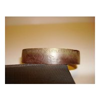 1945 Patented Engraved Child Copper Cuff Bracelet By Uncas Mfg. Co.