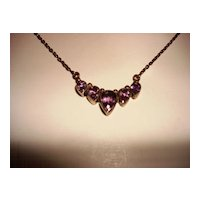 Vintage Sterling Chain With 4 Drop Shape Amethyst Stones Charm
