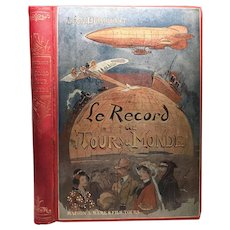 "Antique 19th Century Polychrome French Binding, ""Le Record du Tour du Monde"""