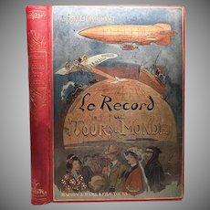 """Antique 19th Century Polychrome French Binding, """"Le Record du Tour du Monde"""""""