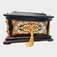 Antique Napoleon III Era Signed Champleve Enamel Wooden Coffre Box