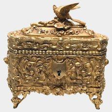 Antique French Napoleon III Era Gilded Cast Bronze Figural Box Coffre