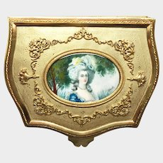 LARGE Napoleon III Gilded Bronze/Brass Boudoir Casket with Hand Painted Portrait of Marie Antoinette