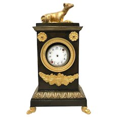 RARE Antique Restoration Era Standing Porte Montre Watch Holder with Gilded Figural Dog