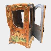 Antique 19th Century Miniature Vernis Martin Chaise a Porteur