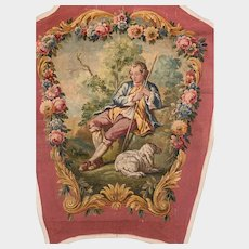 RARE Large Antique 19th Century French Aubusson Tapestry Painted Cartoon/Cartone Le Berger