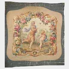 Antique 19th Century French Aubusson Tapestry Painted Cartoon/Cartone