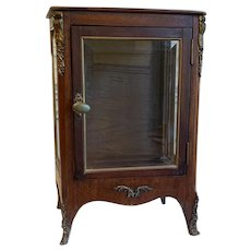 Antique 19th Century French Miniature Wood and Glass Vitrine Cabinet