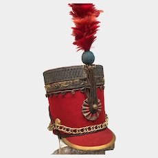 Rare Miniature 19th Century French Military Hat w/ Feather Plume and Gilded Brass Mounts
