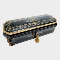 RARE Antique French Signed Palais Royal Black Lacquer Glove Box