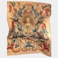 Large Antique 19th Century Tapestry Panel with Portrait Medallion