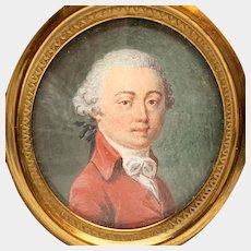 Antique 19th Century French Framed Gouache Portrait