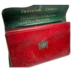 RARE Antique French Red and Green Morocco Leather Monogramed Folio