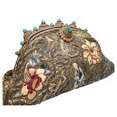 Antique 19th Century French Embroidered Purse with Inset Turquoise Glass Stones