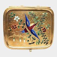 Antique Napoleon III Era Gilded Brass and Bronze Champleve Coffre Box