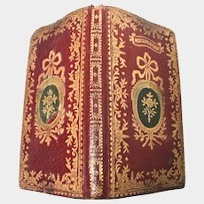 Precious Antique 18th Century French Gilt Tooled Red and Green Morocco Leather Prayer Book