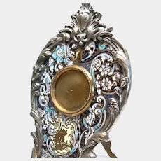 Fine Antique 19th Century Bronze and Silver French Champleve Porte Montre