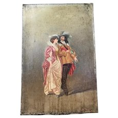 "Antique 19th Century Signed French Painting ""Scene Galante"""