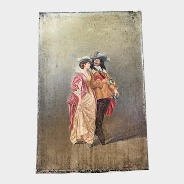 """Antique 19th Century Signed French Painting """"Scene Galante"""""""