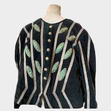 Spectacular Forest Green Velvet French Parisian Opera Theatre Costume with Metallic Braid Trim