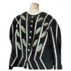 Spectacular Forest Green Velvet French Parisian Opera Theatre Costume with Metallic Braid Trim