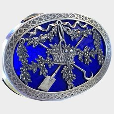 RARE and Extravagant Russian Antique 19th Century Guilloche and Marcasite Silver Snuff Box
